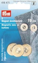 Preisvergleich Produktbild 3 Magnet-Annähknöpfe gold 19 mm