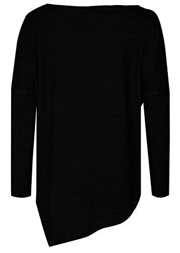 trueprodigy casuale donna magleitte maniche lunghe uni semplice, abbigliamento urban moda girocollo (manica lunga & slim fit classic), top blusa moda vestiti colore: nero 1063172-2999 Black