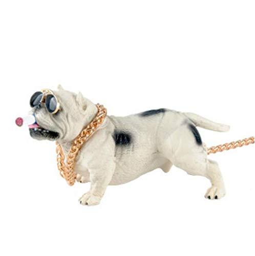 YONGYAO Auto-Dekoration Auto Sozialen Hund Bully Hund Rauchen Hund Simulation Puppe Mode Cool Auto Innenausstattung-Weiß