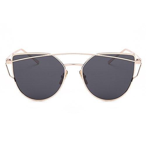 iShine Sonnenbrille Katzenaugen Objektive Spiegel Polarisiert Metallrahmen Lens Harz Legierungen Cateye Gläser in der Mode Brille UV-Schutz für Frau Lady Mädchen Schwarz