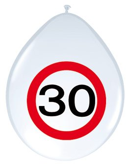 8 x Road Sign White Balloons for Age 30