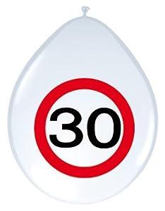 Folat Globos Número 30cumpleaños Bicolor, 8Unidades.