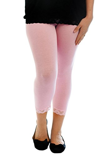 Nouvelle Collection Cropped Lace Trim Leggings Pink 28-30 Trim Cropped Pants