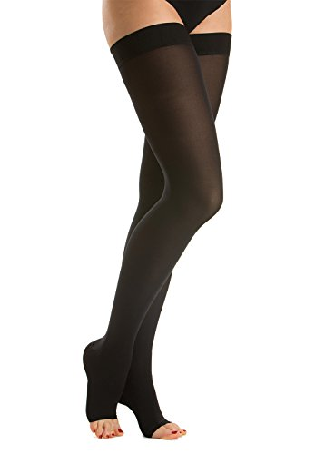Relaxsan M1070A Cotton open-toe medical compression hold up stockings - Class 1 (15-21 mmHg)