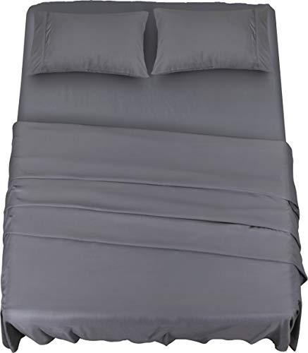 Utopia bedding - set lenzuola letto - spazzolata microfibra - lenzuola e 2 federe - per la letto 180 x 200 cm (grigio, matrimoniale)
