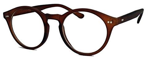 50er Jahre Nerd Brille Vintage Look Streberbrille Rockabilly runde Hornbrille clear lens N1554 (51 matt braun)
