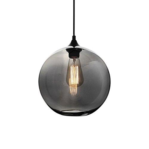 HJXDtech® Moderne Glas Kugel Lampenschirm Pendelleuchte Vintage Industrial Deckenleuchte Hängelampe 25cm Anhänger-hängendes Licht (Grau)