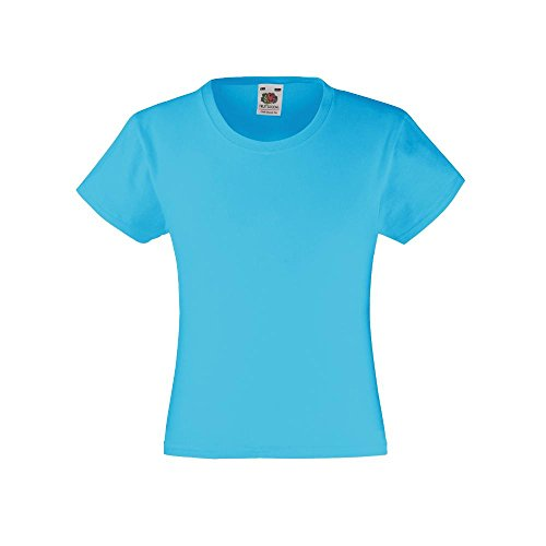 Fruit of the Loom - Mädchen T-Shirt 'Girls Valueweight T' Age 12-13,Azure Blue
