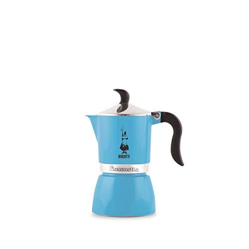 Bialetti Moka Fiammetta, Caffettiera 3 Tazze, 3 Cups, Alluminio, Azzurro Fluo