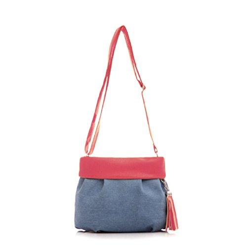 Donne Maniglia Satchel Tassel Zipper Canvas Shoulder Bag Inclinato Red