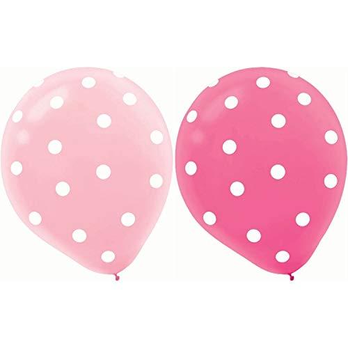 Scrox 20 Stück 12 Zoll Runde Helium Qualität Polka Dot Balloons Aufblasbare Latex Ballon für Jubiläum Hochzeit Valentines Party Dekoration - 10 Dark Pink + 10 Hellrosa (Polka Dot Latex-ballons)