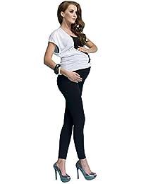 OssaFashion Femme Leggins Leggings de grossesse et maternité en coton  élargis et couvrant le ventre 23ffcfacb61