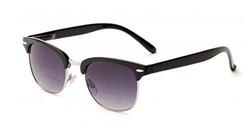 +1.50 Bifokal Sonnen Lesebrille Sonnenbrille Schwarz und Silber 100% UV-Schutz Gläser Männer Frauen Retro Vintage Zeitlos Fall & Stoff