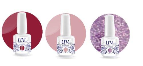 UV-Nails Soak-Off Gel Set Pink Paradise (221,199,210) 2 Vernis a Ongles & 1 Vernis Paillettes 15ml + Aviva Polissoir a ongles