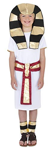 Smiffys Kinder Ägyptischer Junge Kostüm, Robe, Gürtel, Kopfschmuck und Fußspangen, Größe: L, 38656 (Jungen ägyptischen Kostüm)