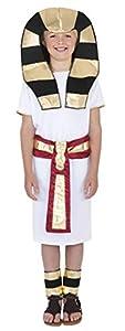 Smiffys Disfraz de Egipcio, Blanco, con túnica, cinturón, Adorno para la Cabeza y tobill