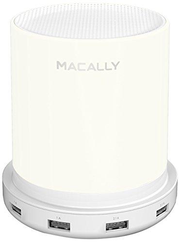 Macally LAMPCHARGE-EU lámpara de mesa regulable, con cargador USB 24W, sensor táctil y luz blanca...