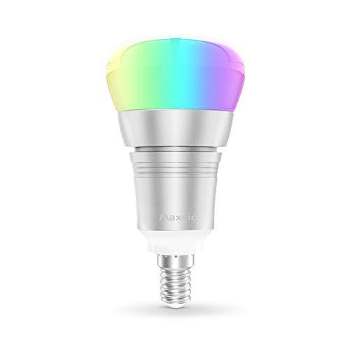 Smart Alexa Lampe, Maxcio Wifi Smart Lampe, 7W E27 RGB+W Mehrfarbiges und Dimmbares Licht, Fernsteuerung via App, Kompatibel mit Amazon Alexa und Google Home