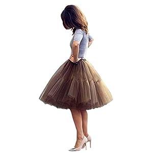 Damen Tüllrock Tutu Skirt 5 Lage Petticoat Ballettrock Unterrock Pettiskirt