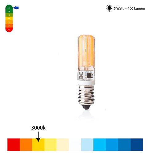 e14 Led lampe, 5Watt Warmweiss, Kobos-led 5er Pack,5W Ersetzt 40W leuchmittel,COB,Birne,Kerze,3000K,COB,400lm,Glühlampen,220-240V,Abstrahlwinkel 360°