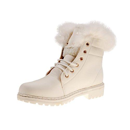 10423 Fashion4Young Gefütterte Damen Stiefel Stiefelette Ankle Boots Booties Schnürschuhe Weiß