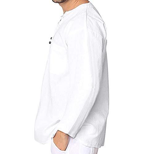 REALIKE Herren Langarm-Hemden Tops Mode V-Ausschnitt Bandage Hemd Slim-Fit Lange Ärmel T-Shirt Freizeit Einfarbig Mit Taschen Oberteil Herbst Bequem Atmungsaktiv Leicht Viele Farben Blusen