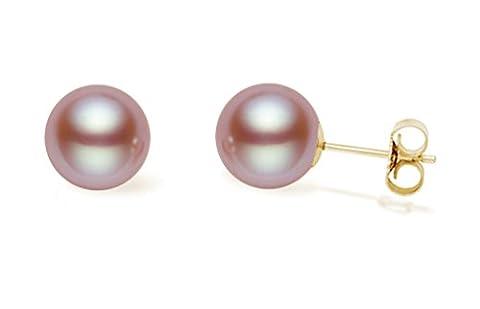 14K Or jaune rose Boucles d'oreilles en perles de culture d'eau douce de qualité AAA
