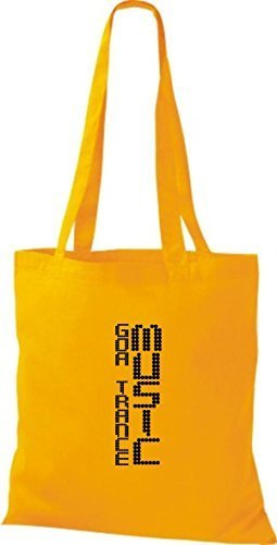 ShirtInStyle Stoffbeutel Musik Beutel Goa Trance Music Baumwolltasche Beutel, diverse Farbe yellow