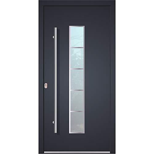 Haustür Welthaus WH75 Standard Aluminium mit Kunststoff LA250 Frankfurt Tür 1100x2100mm DIN Links Farbe aussen anthrazit Innen weiß außengriff BGR1400 innendrucker M45 Zylinder 5 Schlüßel