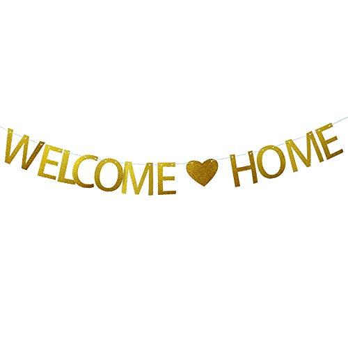 JNCH 3 Meter Deko Welcome Home Girlande Vintage herzlich willkommen zuhause Banner Papier Bunting Buchstaben Flags für Hochzeit Party Familie Festival Feier Haus Dekoration (Banner Große Hochzeit)