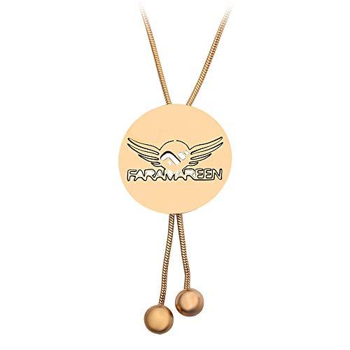 DTKJ Gold Runde Anhänger Halskette Vintage Muster für Frauen Kragen Pullover Kette Zubehör Geburtstagsgeschenk -