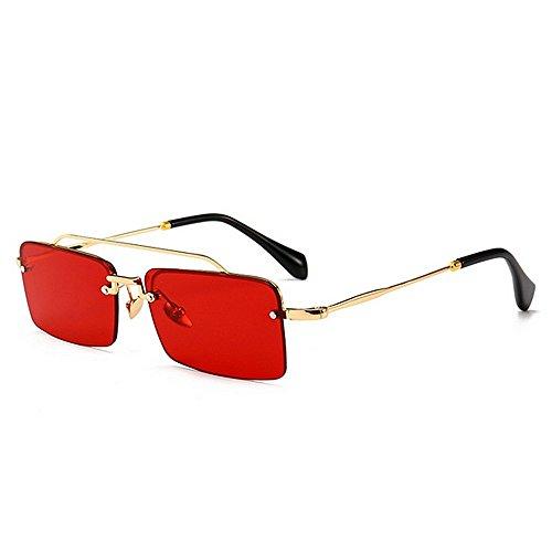 XHCP Frauen Polarisierte Klassische Aviator Sonnenbrille, Vintage Kleine Quadratische Form Schmale Design Sonnenbrille Für Frauen Männer UV Schutz Für Fahren Urlaub Sommer Strand (Farbe: Rot)