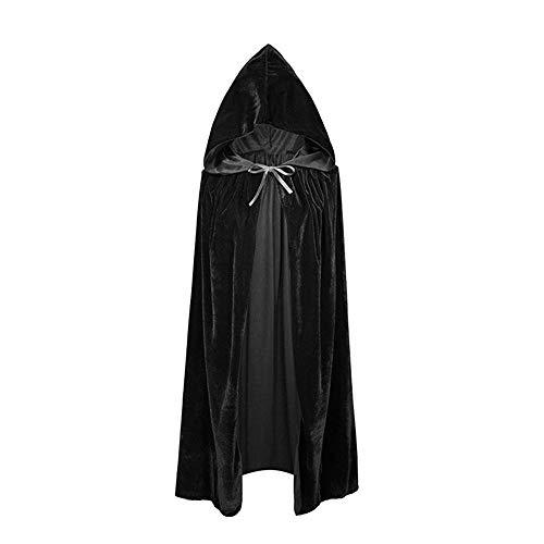 KEBY Unisex Kapuzenmantel/Umhang für Halloween, Weihnachten, Party, Vampir, Ostern, Cosplay, Kostüm Gr. One Size, Schwarz