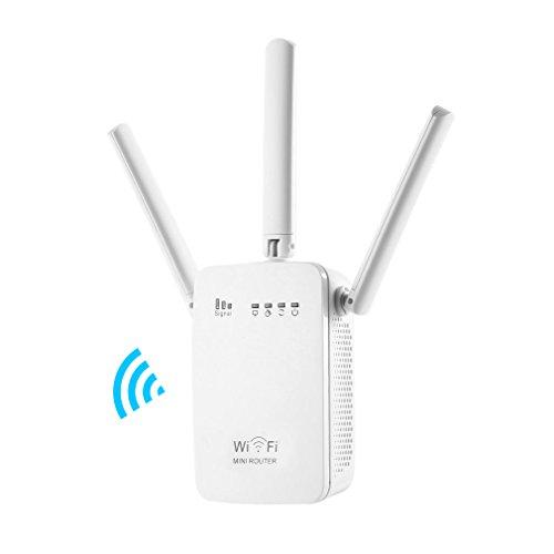 CIMIVA-AC04 Enrutador Inalámbrico Extensor de Red Wifi Repetidor Amplificador Wifi Doble Banda EU Enchufe (750Mbps, 3 Antenas, Color Blanco)