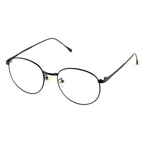 Cyxus Anti Blaues Licht Brille Anti-Augen-Ermüdung [Klare Linse] Computerbrillen Retro Runden Metall Rahmen (Schwarz) Unisex Brillen zum Männer und Frauen