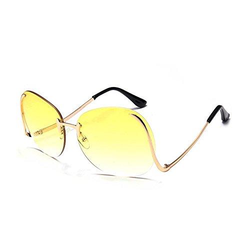 CXZC Große randlose Brille,SJF Elegant Lady Party überdimensioniert Mode Transparente Optik Lens Sonnenbrillen Rimlesss -