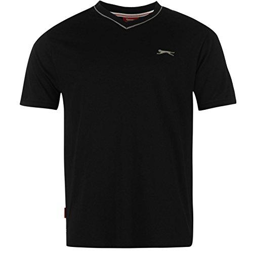 Slazenger Herren V-Ausschnitt T Shirt Kurzarm Tee Top Bekleidung Schwarz