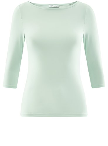 oodji Collection Damen T-Shirt Basic mit 3/4-Ärmeln Grün (6500N)