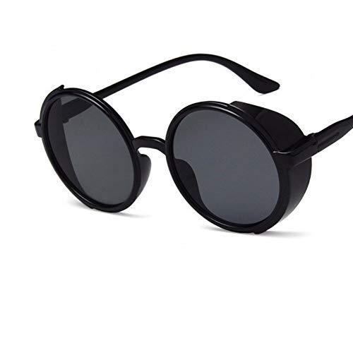 Taiyangcheng Runde Sonnenbrille Männer Frauen reflektierende Blaue Silberne Spiegel Sonnenbrille,schwarz