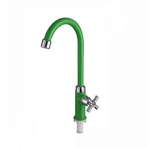 Homdsimfashion Green Home ABS un seul trou froid robinet d'eau Robinet pour évier de cuisine Lavabo