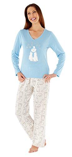 i-Smalls Femme Faith Pyjama avec Imprimer Ours Polaire Coton Ecru