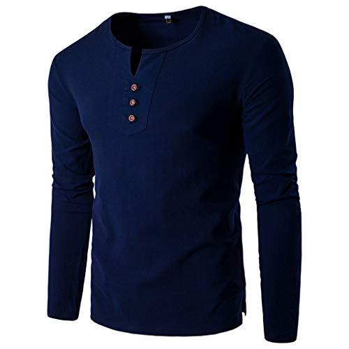 DNOQN Running Shirt Herren T Shirt Lange ärmel Mode Herren Nadel Zeigen Herbst Langarm Beiläufig Fit Baumwolle Runden Top Bluse M