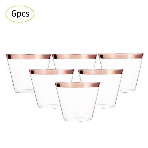 Lamptti 6 Stück Kunststoff klar Cups, 9oz / 270ml Hartplastik Luftfahrt Cup, Weinglas Tiramisu Ice Cream Cup Saft Tasse für Picknick im Freien Reisen Hochzeit