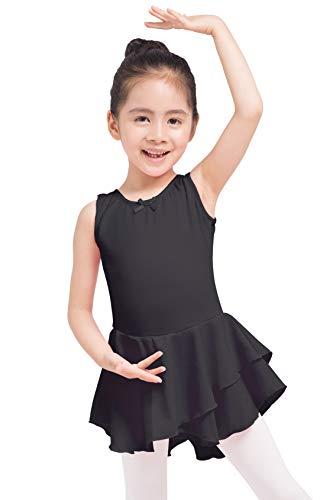 Dancina Mädchen Ärmelloses Ballettkleid Ballettanzug mit Rock 104/110 Schwarz -