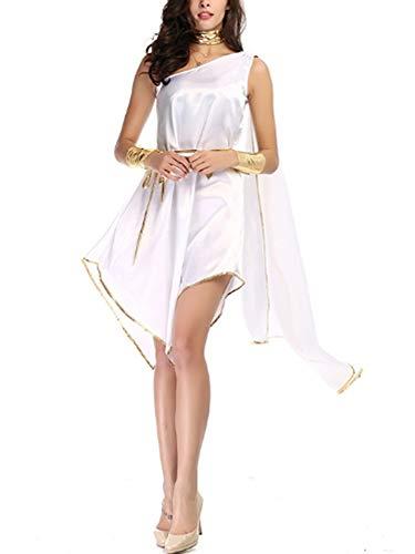 Mitef griechische Göttin Prinzessin Kleid Halloween Kostüm für Frauen unregelmäßiges Kleid mit Schmuck-Zubehör - Schöne Aphrodite Kostüm