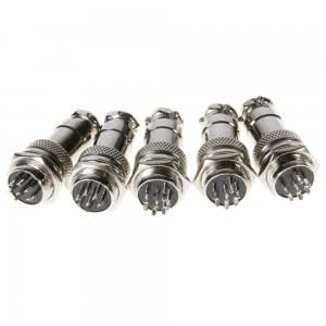 5Pcs 16mm Diameter GX16-7 Core Connector Metal Air Plug with 7 Pin Silver