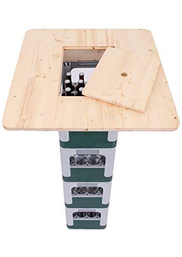 Hermes24 Stehtisch Bistrotisch Fichte geölt Eckig 71x71 cm mit Einlage BKTA71FIEME Bierkastentischaufsatz Partytisch Tischaufsatz Kistenhalter Tisch