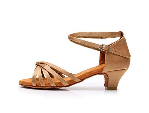 SWDZM Mujer/Niñas Zapatos de Baile/estándar de Zapatos de Baile Latino Satén Ballroom Modelo ES-XGG Beige 34 EU/21.3CM