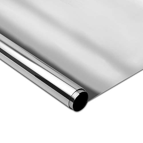 Rabbitgoo Vinilo Ventana Lámina de Espejo Plata Protector Solar Privacidad Para Ventana Autoadhesivo Vinilo para Ventana Espejo de Una Dirección Espejo de Gran Reflexión Anti 99% UV de Control Solar 90*200CM