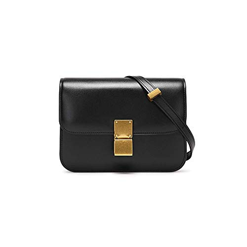 2018 Neue Temperament Persönlichkeit Retro kleine quadratische Tasche Schulter Messenger Bag (Farbe : SCHWARZ, größe : 20.5 * 7 * 13CM) - Chanel Schwarz Leder